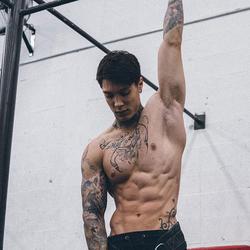 A shot of Chris doing training