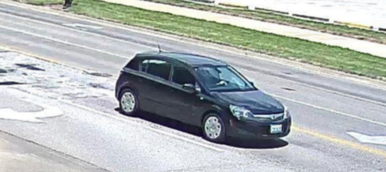 The front of suspect's vehicle a black Saturn Astra  4 door hatchback