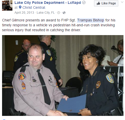 Facebook post about the award Master Sergeant William Bishop received for catching a hit and run driver