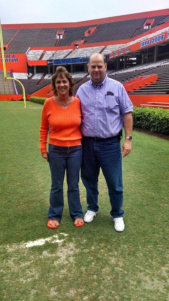 Photo of William Trampass Bishop and his wife Lisa at theFlorida Gators field[1]