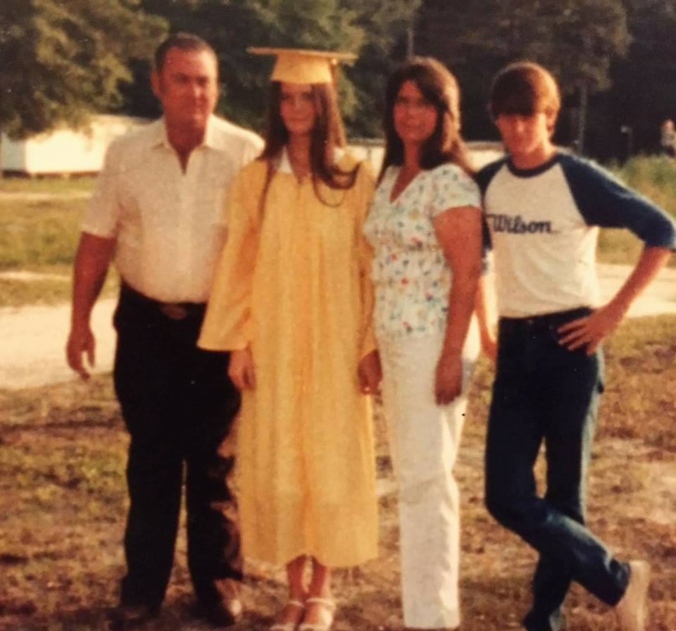 Photo of William Trampass Bishop with his parents and sister from 1982[1]
