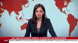 Giorgia Cardinaletti presenting at Rai News 24
