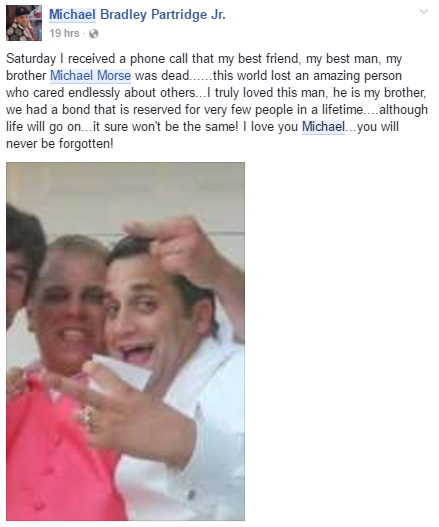 Facebook post in Michael's memory by his close friend, Michael Patridge