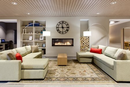 Lobby with Fireplace and Couches