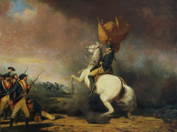 George Washington                                rallying his troops at the                                 Battle of Princeton