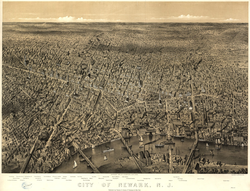 View of state's largest city, Newark, in 1874
