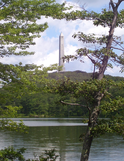 High Point Monument                                as seen from Lake Marcia at High Point,                                 Sussex County                                , the                                 highest elevation                                in New Jersey at 1803 feet above sea level.                                                   [45]