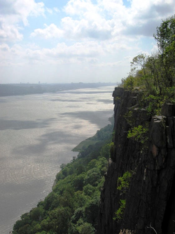 Part of the                                 Palisades Interstate Park                                , the cliffs of the                                 New Jersey Palisades                                overlook the                                 Hudson River