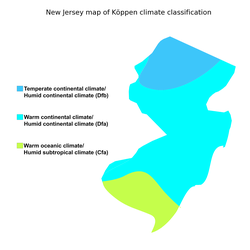 New Jersey map of                                 Köppen climate classification