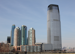 Skyscrapers                                in                                 Jersey City                                , one of the most                                 ethnically diverse                                cities in the world.                                                   [93]                                                                                    [94]