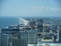 Atlantic City                                , looking southward, is an                                 oceanfront resort                                and the nexus of New Jersey's                                 gaming industry
