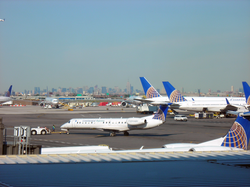 New York City skyline from Continental (now United) Terminal C in                                 Newark Liberty Airport