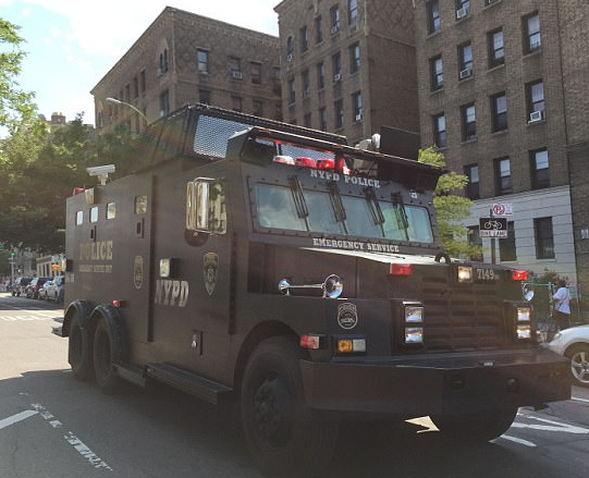 NYPD vehicle at the scene