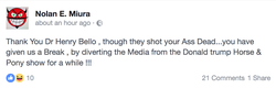 Facebook post of a user who thanks Bello for distracting the Trump Pony show.
