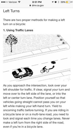 Image of the DMV rule of how to make the left turn as a cyclist.