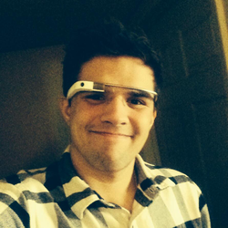 Photo of Andrew wearing                               Google Glass                              ​