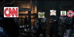 A meme of                               CNN                              ​ that depicts its logo cornered by                               Pepe the Frog                              ​,                               Reddit                              ​,                               4chan                              ​, and /pol/