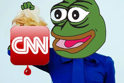 Pepe holding up the CNN logo
