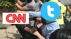 Nathan Damigo's head as aTwitter logo punching aCNN logo that is overLouise Rosealma'shead