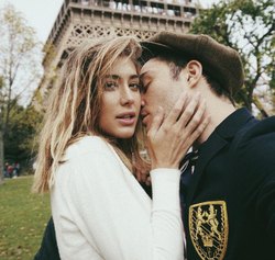 Jessica Serfaty being kissed by Ed Westwick​ in Paris​.