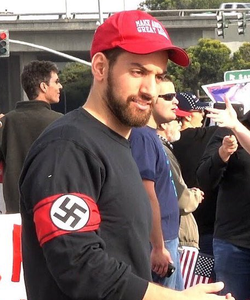 Salads wearing a Nazi arm band at theUnite the Right rally in August 2017.