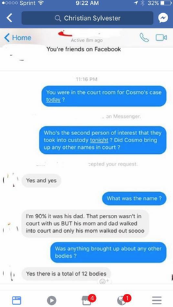 Text message from a close family friend of the DiNardo's who was present in court.