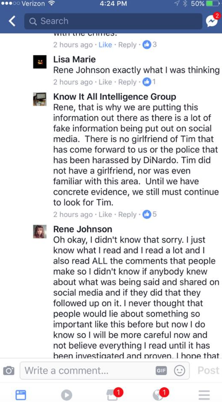 Dispute over the knowledge of whether Tim is involved in the Krantz and DiNardo case.