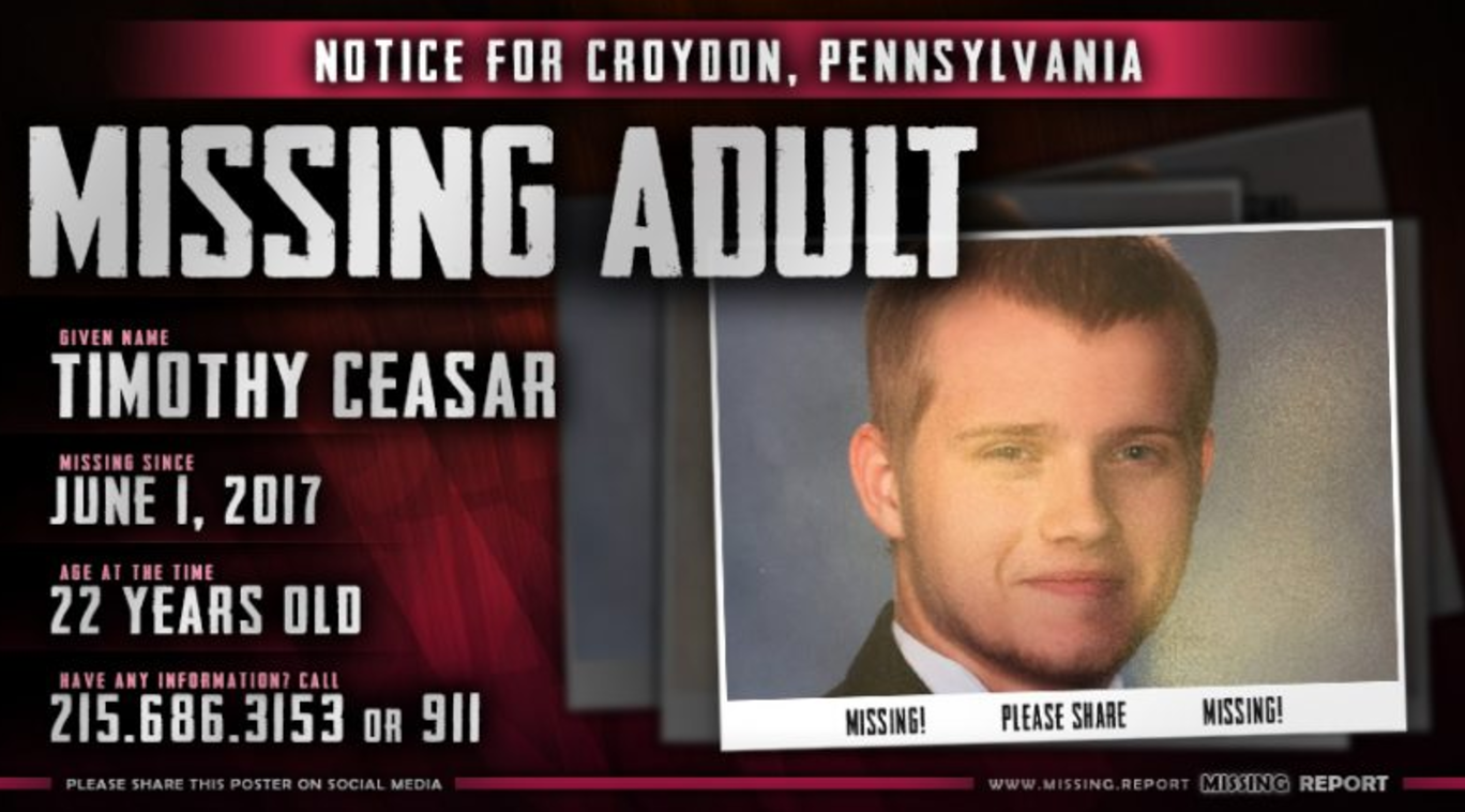 The online flier of Missing Tim that was shared around Social Media.