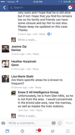 Screenshots of comments from the Facebook post by knowitallgroup concerning whether Tim was involved a victim or not.