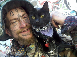 A wook and his cat