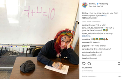Instagram post of 6ix9ine studying for his GED