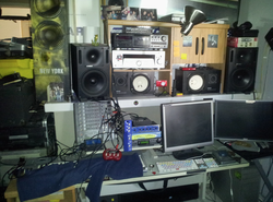 The work space area of Carlos where he records his music.