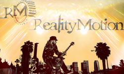 The logo of his band,Reality in Motion.