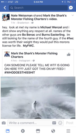 Facebook​ post identifying Michael Wenzel and the other fisherman behind the cruelty