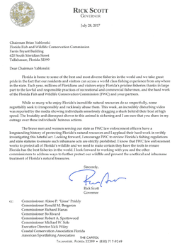 Letter Florida Governor​ sent to the FWC regarding the shark cruelty incidents