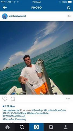 Instagram​ photo of Michael and friends with a Tarpon​ he illegally caught killed with a Harpoon​. He tagged the photo #FWCsMostWanted.