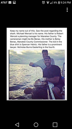 Facebook​ comment identifying the four men involved in the shark cruelty incident