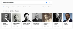 "An example of potential Google bias where a search result for ""American inventors"" yields almost entirely       African american      ​ inventors."
