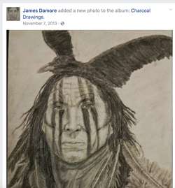 A drawing of an American Indian