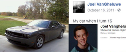 Joel received  his father's 2010 Gray Dodge Challenger for his birthday