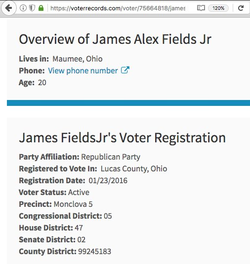 James Fields is a registered voter; he is a Republican