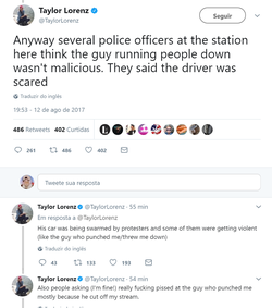 Tweets from Taylor Lorenz about the driver's intent