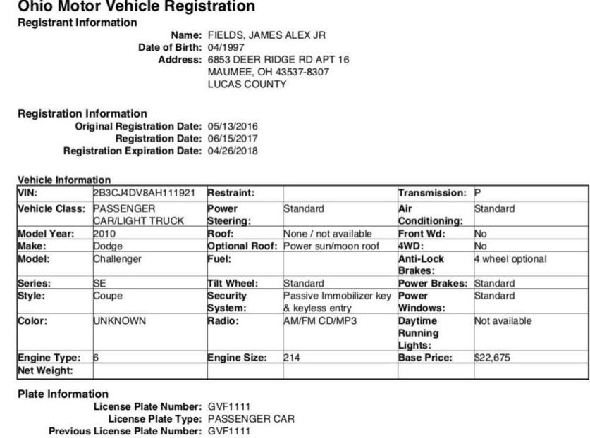 Vehicle registration ofDodge Challenger