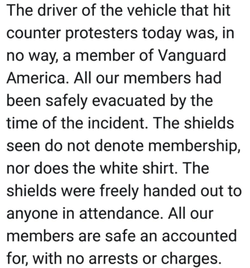 Statement by Vanguard America stating that                               James Alex Fields Jr.                              ​ was not a member of their organization