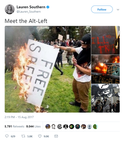 Tweet about the Alt-Left fromLauren Southern