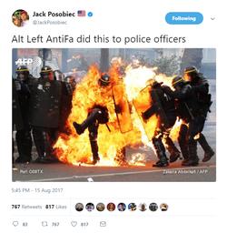 Jack Posobiec's Tweet about the Alt Left