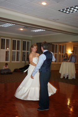 Photo of Alex Shaffer Wubbels dancing at her wedding.