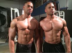 Hodge Twins posing shirtless