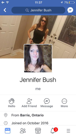 Screenshot of Jennifer Bush's Facebook​ profile
