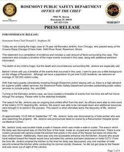 Statement from Rosemont police